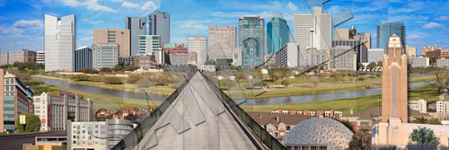Fort Worth Skyline downtown  Photomontage on Metal | Carl Walker Crum | Texas Photomontage best artist in texas best art in fort worth gallery pop art local art local artist