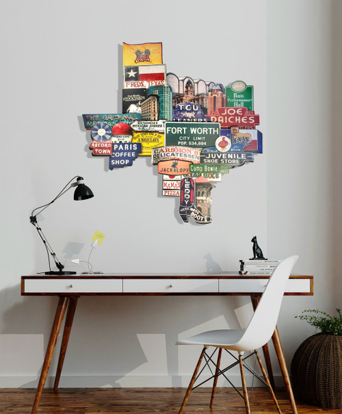 Fort Worth Texas Signs & Landmarks  Art | Texas 3D Photomontage on Metal | Carl Walker Crum