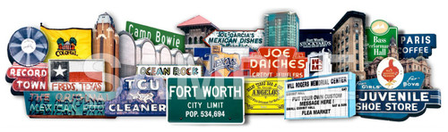 Fort Worth Signs and Landmarks Favorites 3D on Metal | Texas Photomontage | Carl Walker Crum