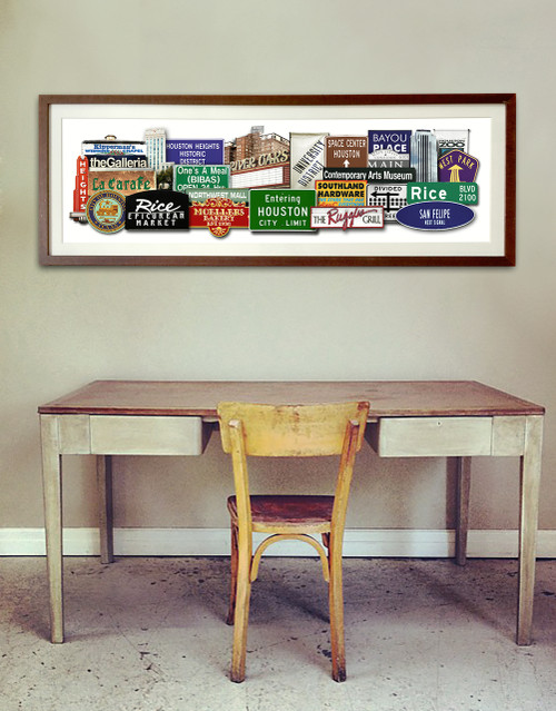 Houston Texas Signs and Landmarks  icons Favorites Photomontage Print | Carl Walker Crum