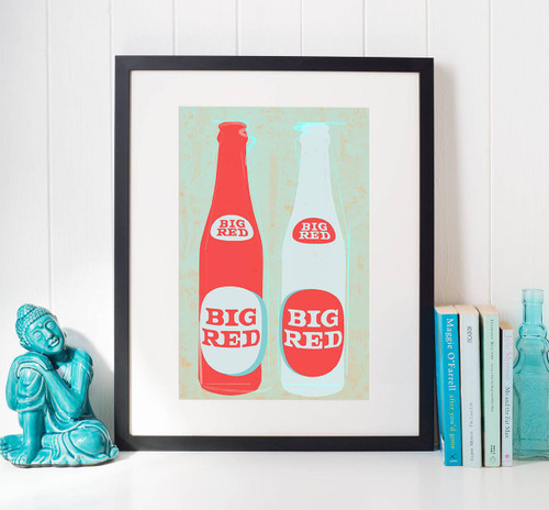 texas gift, big red and barbocoa, big red and bbq, big red and barbacoa, big red, texas soda, dr pepper, funky art, blue and red art, betsy crum, sort of cool, pop art texas, sort of cool art