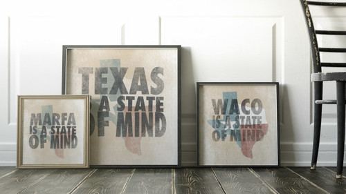 Texas Is A State of Mind | Texas Shaped Print | Cool Art