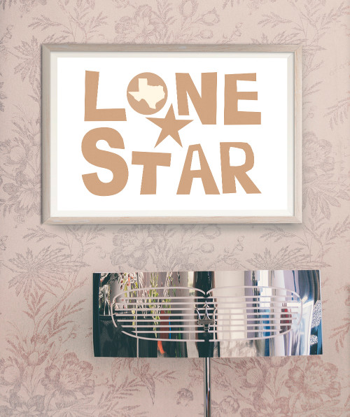 Lone Star Hand Cut Letters  |  Texas Art Print | Cool art