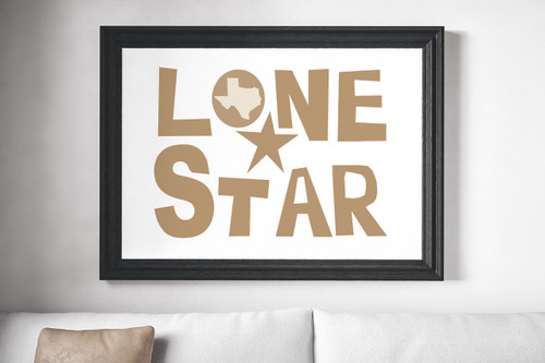 lone star poster art print screen print beige neutral texas art minimalist texas texas designs designer