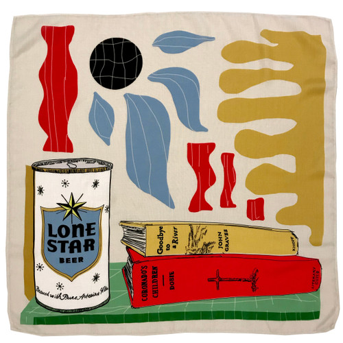 texas scarf, lone star beer, girl gift, texas girl gift, texas monthly store, texas bbq, texas bbq map, texas towns, betsy crum, texas photomontage