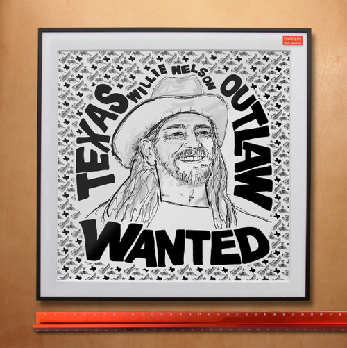 Texas Outlaw Willie Nelson - Wanted | Art Print