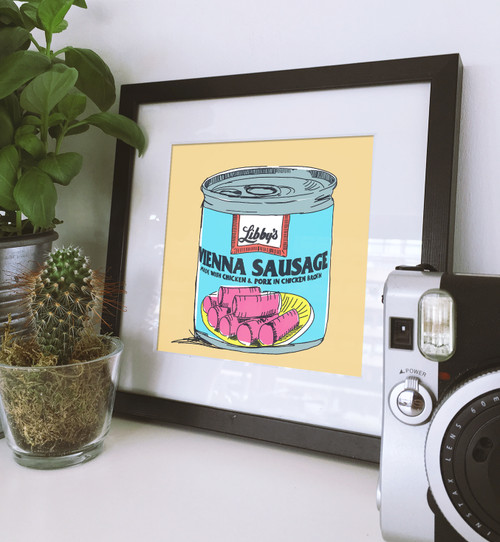 Vienna sausage print, vienna sausage, sort of cool, sort of cool art, cool art, pop art, modern pop art
