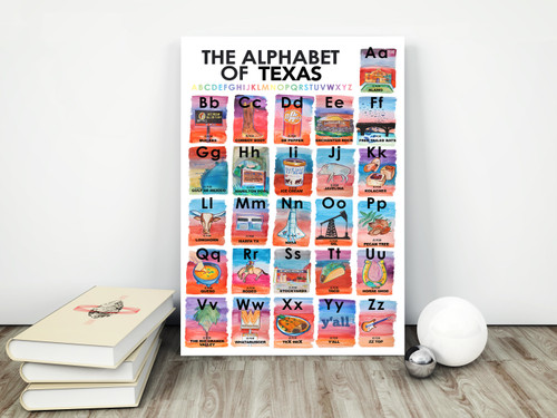 texas alphabet, abc's of texas, caya crum, texas alphabet print, texas alphabet book, texas alphabet poster, sort of cool art, cool art, cool texas art, texas baby gift, baby gift texas, texas nursery decor, texas cities, texas art, texas wall art, nursery decor, whataburger art, dr pepper art, texas poster, texas art decor, texas decor, baby shower gift texas, baby shower gifts, baby shower gift ideas