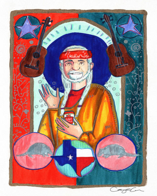 Saint willie, willie nelson icon, willie nelson print, caya crum art, caya crum, cool art fort worth, austin art, austin texas, willie nelson as a saint, willie nelson mural, austin mural, caya crum artist, artist caya crum, willie nelson painting, fort worth mural,