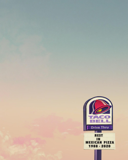 taco bell print, sort of cool, betsy crum, mexican pizza, taco bell mexican pizza, texas sky, sort of cool art, taco bell menu, taco bell hot sauce