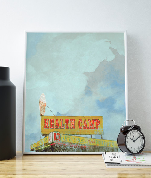 Health Camp Waco prints art wall art cool Waco art Joanna Gaines Waco print waco texas art gallery Waco gift moving to Waco texas where to buy art in Waco texas Baylor graduation gift Baylor gift Waco gift Betsy Crum Carl Crum texas sky health camp restaurant Waco healthy camp Waco where to eat in Waco texas