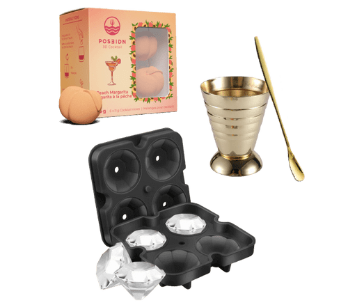golden bundle with peach margarita, gold jigger and gold cocktail spoon