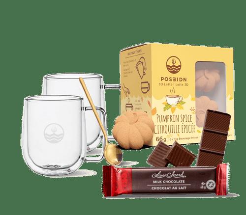 Pumpkin Spice bundle with 2 mugs, one tea spoon and a Laura Secord milk chocolate bar.