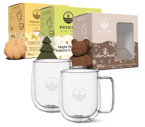 Pumpkin Spice, Hot chocolate and Maple Matcha with 2 glass mugs. This is a bundle from Poseidn