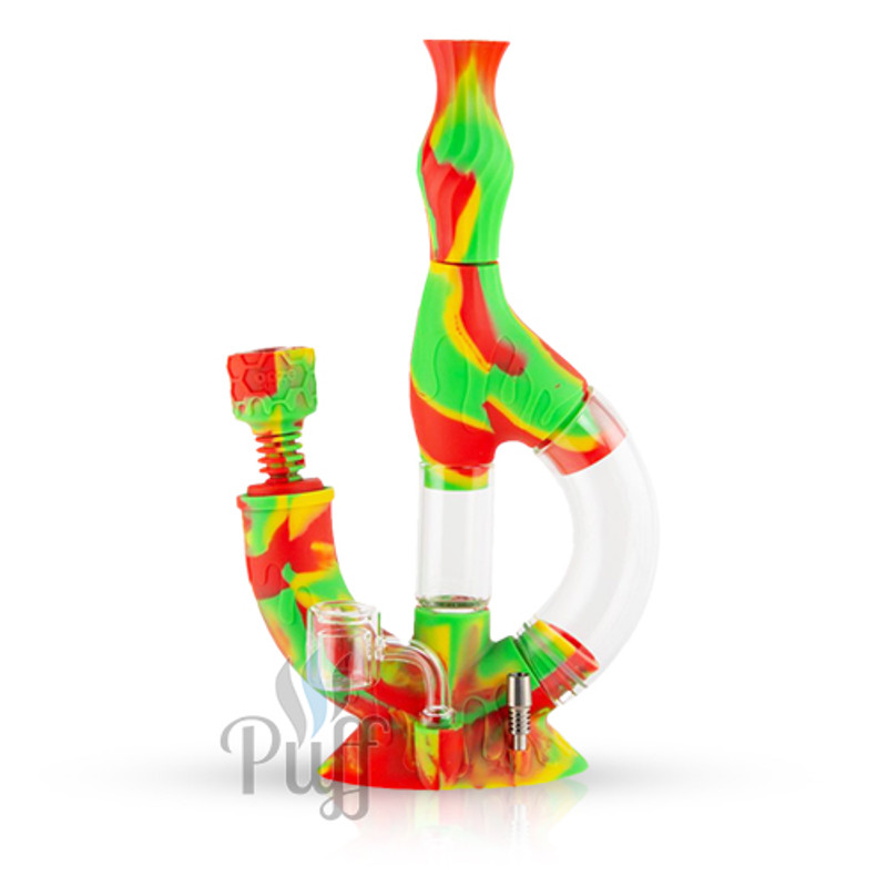 Ooze Echo Silicone Water Pipe & Nectar Collector - Rasta