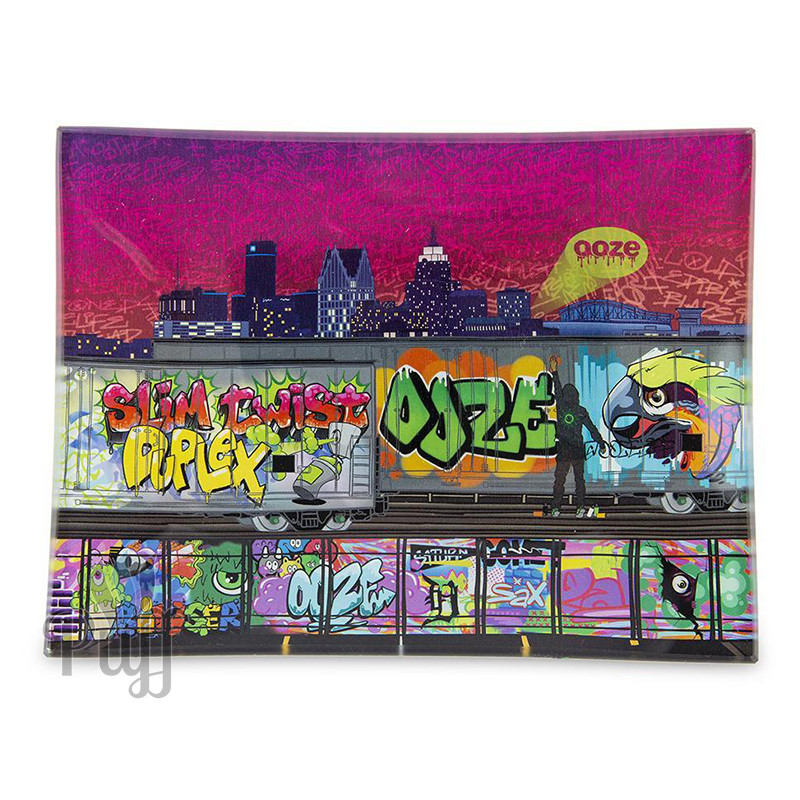 Ooze Shatter Resistant Glass Rolling Trays - Tag