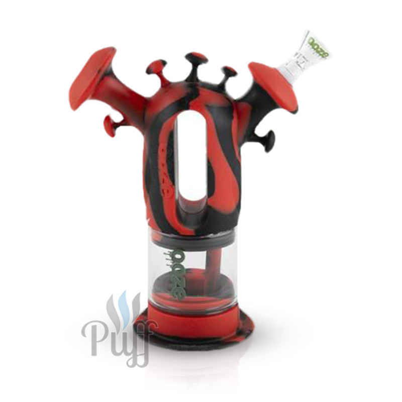Ooze Trip Pipe Silicone Bubbler - Black Red