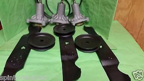"Husqvarna YTH 2348 48"" Lawn Mower Deck Rebuild Kit Spindles Blades Belt Pulleys"