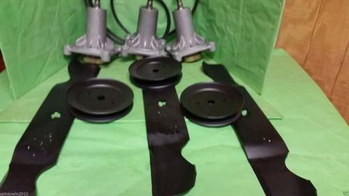 "Husqvarna YTH24K48 48"" Lawn Mower Deck Rebuild Kit Spindles Blades Belt Pulleys"