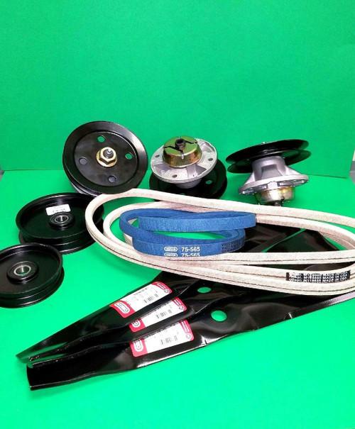 Mower Deck Kit For John Deere M115495 AM121342 M110312 Belts Spindles Blades