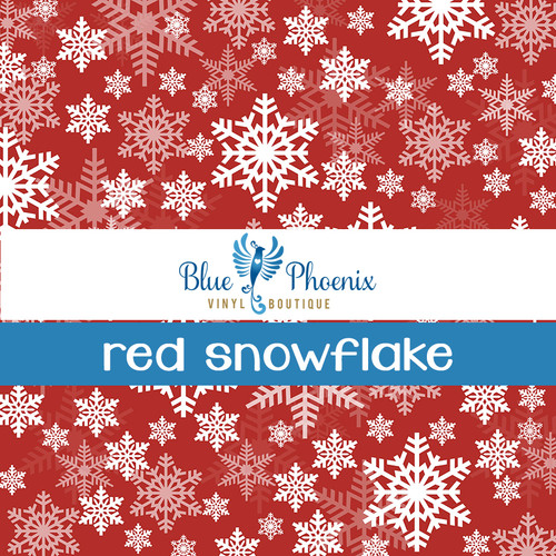 RED SNOWFLAKE PATTERNED VINYL OR LEATHER