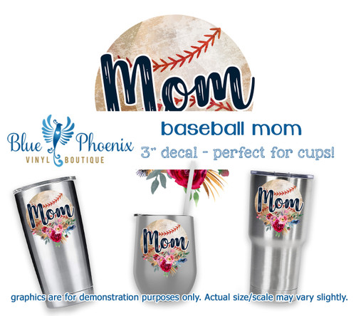 BASEBALL MOM COLOR CUP DECAL
