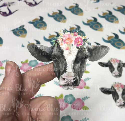 BLACK AND WHITE COW WITH FLOWERS COLOR CUP DECAL