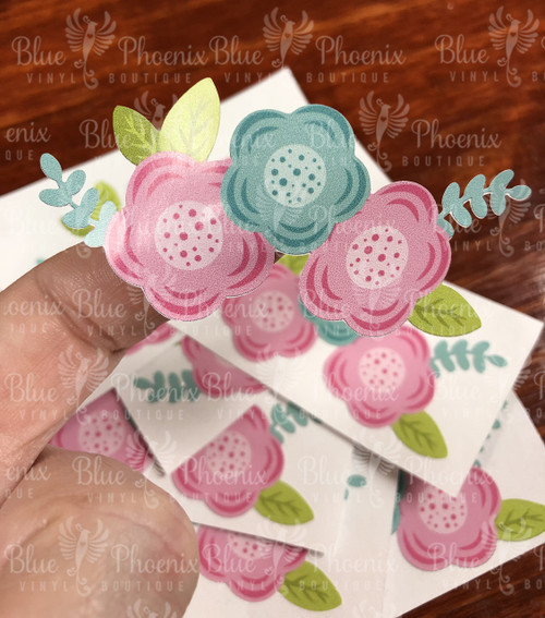 BUTTON FLOWERS COLOR CUP DECAL