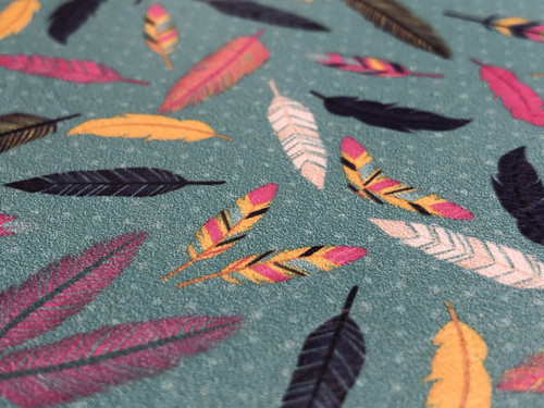 COLORFUL FEATHERS PATTERNED LEATHER HTV ADHESIVE VINYL