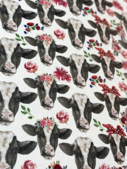 BLACK AND WHITE COW PATTERNED LEATHER HTV ADHESIVE VINYL