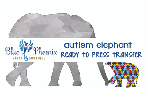 AUTISM ELEPHANT WATERCOLOR READY TO PRESS TRANSFER