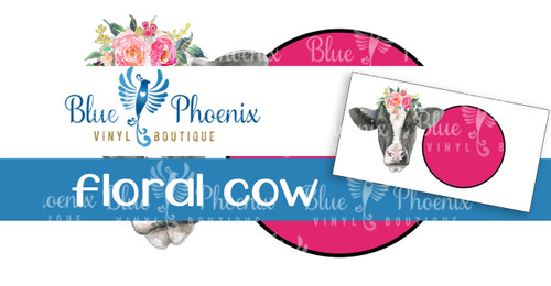 FLORAL COW LICENSE PLATE