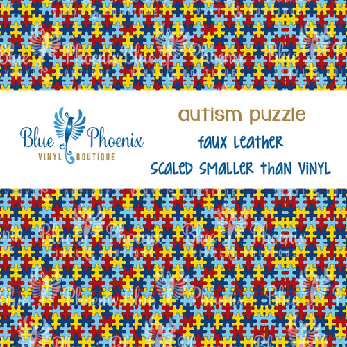 AUTISM PUZZLE ORIGINAL PATTERNED LEATHER HTV ADHESIVE VINYL