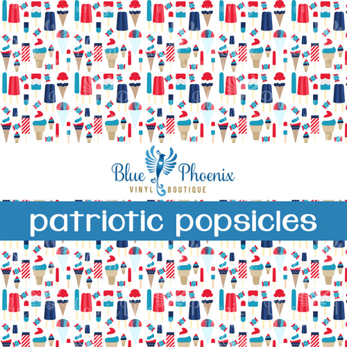 PATRIOTIC POPSICLES PATTERNED LEATHER HTV ADHESIVE VINYL