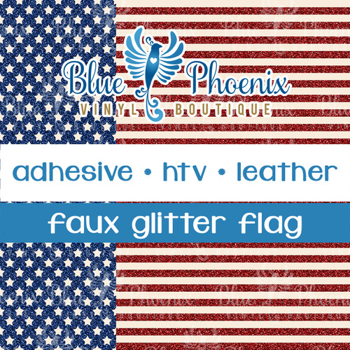 STARS AND STRIPES FAUX GLITTER PATTERNED LEATHER HTV ADHESIVE VINYL