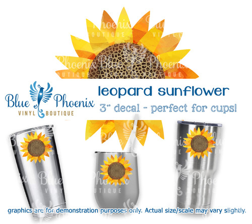 LEOPARD SUNFLOWER COLOR CUP DECAL