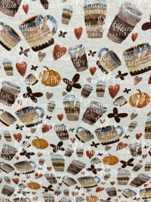 COFFEE LIFE PATTERNED LEATHER HTV ADHESIVE VINYL