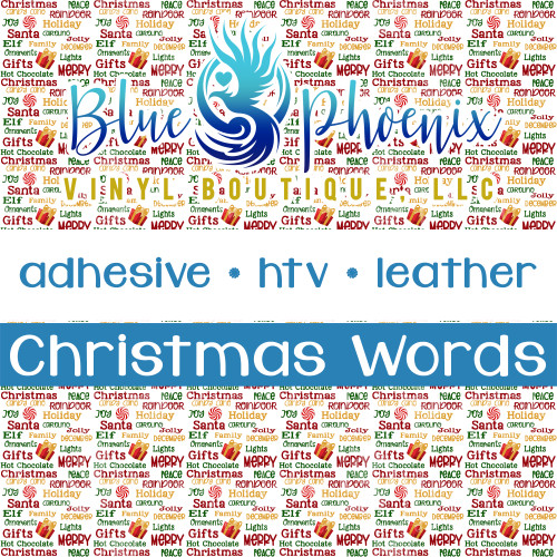 CHRISTMAS WORDS PATTERNED LEATHER HTV ADHESIVE VINYL
