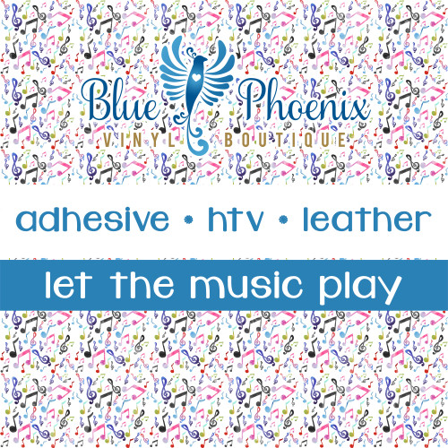 LET THE MUSIC PLAY PATTERNED LEATHER HTV ADHESIVE VINYL