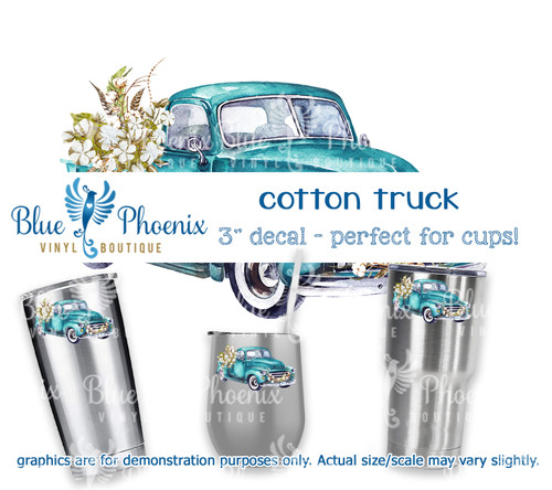 BLUE COTTON TRUCK COLOR CUP DECAL