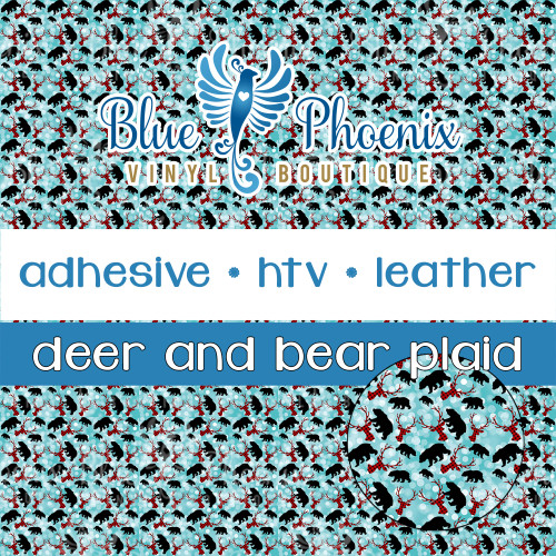 BUFFALO PLAID DEER AND BEAR WITH SNOW BACKGROUND PATTERNED VINYL OR LEATHER