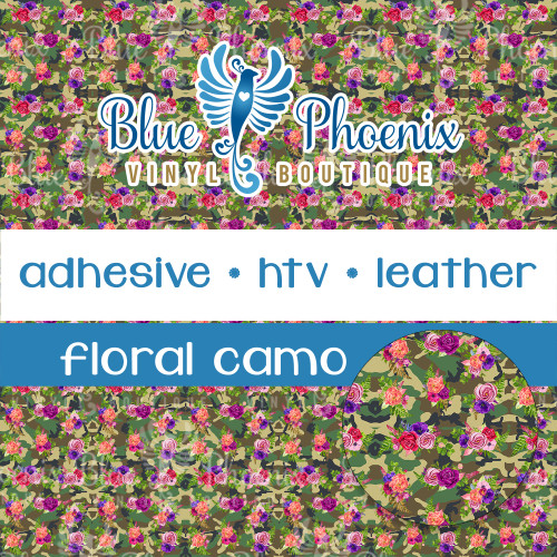 FLORAL CAMO PATTERNED VINYL OR LEATHER