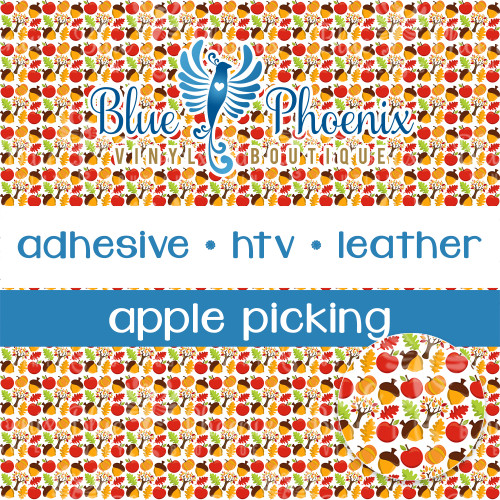 APPLE PICKING PATTERNED VINYL OR LEATHER