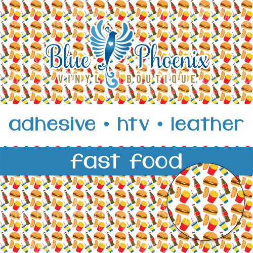FAST FOOD PATTERNED VINYL OR LEATHER
