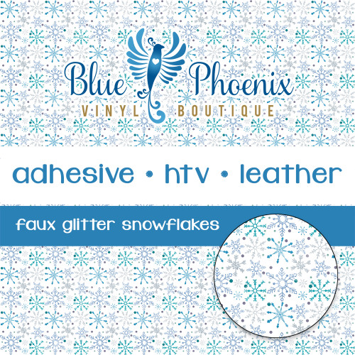 FAUX GLITTER SNOWFLAKE PATTERNED VINYL OR LEATHER