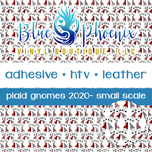 PLAID GNOMES GNOMIES GNOMES SMALL SCALE PATTERNED VINYL OR LEATHER
