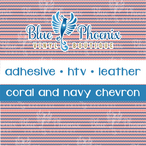 CORAL NAVY CHEVRON PATTERNED LEATHER HTV ADHESIVE VINYL