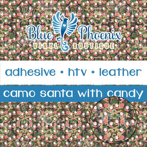 SANTA CAMO WITH CANDY PATTERNED VINYL OR LEATHER