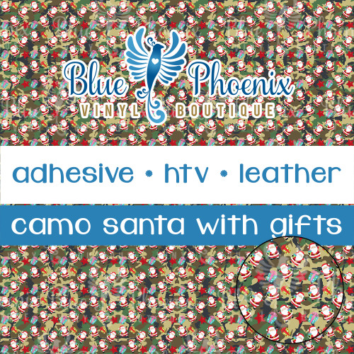 SANTA CAMO WITH GIFTS PATTERNED VINYL OR LEATHER