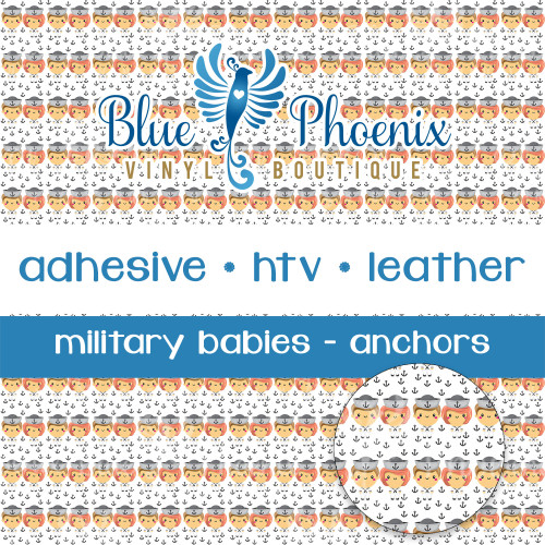 MILITARY BABIES - ANCHORS PATTERNED VINYL OR LEATHER